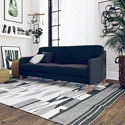 (DHP Jasper Linen Upholstered Coil Futon, Multi-Position Back, Converts to Sleeper, Navy Linen)