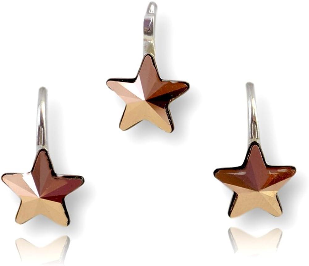 Crystals & Stones Estrella * * * Rose Gold * Chica Joyas–Set * Schön joyas con cristales de swarovski elements–Fantástica Pendientes y collar con caja de regalo