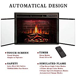Kismile Electric Fireplace Insert,Recessed in Wall Freestanding Heater,Large Screen,Touch Screen,Multicolor Flames, Remote Control,750w/1500w,Black by Kismile
