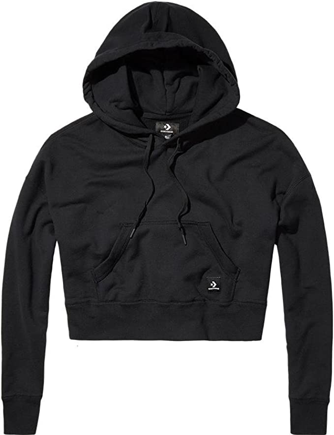 Converse Essentials Cropped Pullover Pull, Femme, Noir
