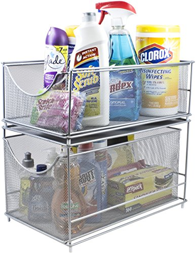 - Sorbus Cabinet Organizer Set -Mesh Storage Organizer with Pull Out Drawers-Ideal for Countertop, Cabinet, Pantry, Under the Sink, Desktop and More (Silver Two-Piece Set)