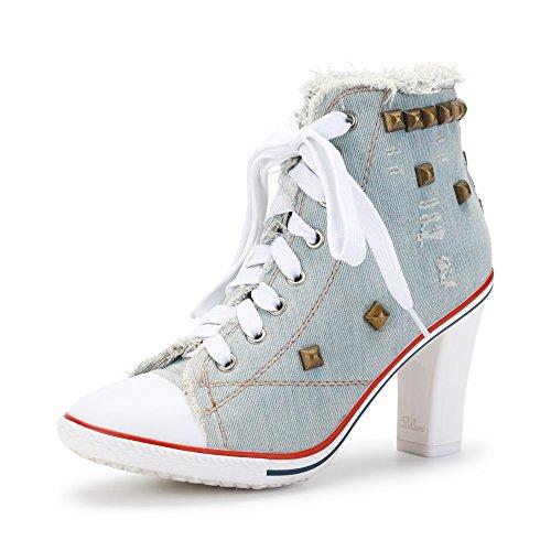 Hauteur Lacets En Toile Ochenta Basket Talon 8cm Bloc Femme Bottine Clair Sneakers Bleu Cheville T8zqF