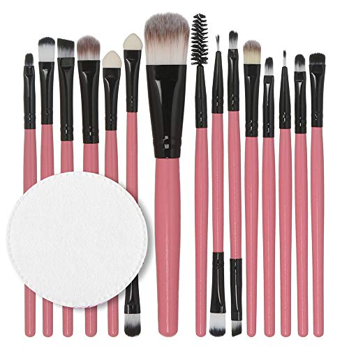 Ourhomer  Clearance Sale 15pcs/set Makeup Brush Set tools Make-up Toiletry Kit Wool Make Up Brush Set (pink)