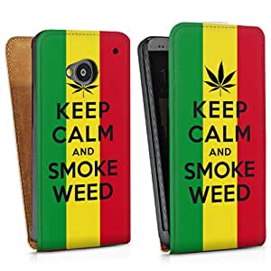 Design bag case for Keep calm and smoke weed One (M7) - Design bag Downflip white - HTC