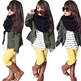 2017 Toddler Girls Fall Winter Warm Long Sleeve Striped Shirt+Coat+Pants Clothes Outfits Set (3T, Army Green)