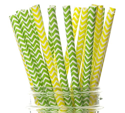 Pineapple Party Straws (25 Pack) - Hawaii Birthday Party Supplies, Summer Tropical Luau Theme Party Decorations, Yellow & Green Party Like A Pineapple Fruit Bridal Shower Party Straws ()