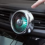Car Air Vent USB Fans Auto Cooling Fan with Colorful Light/Suction Cup Car USB Fan/Car Mini Air Conditioner Freshener Vent Clip Fan (Air Vent Fan Silver)