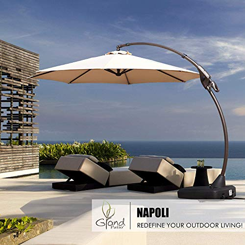 Grand patio Deluxe Napoli 12FT Curvy Aluminum Offset Umbrella, Patio Cantilever Umbrella with Base, Champagne