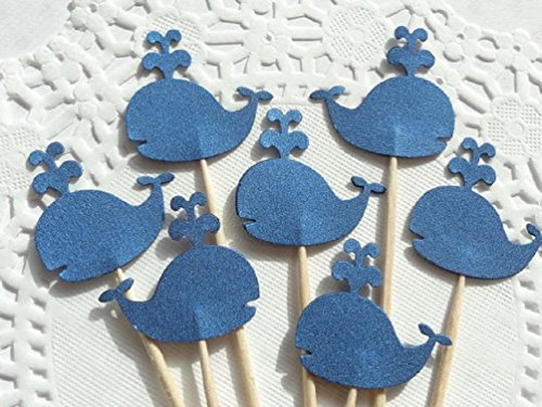 Whale Cupcake Toppers - Blue Metallic Shimmer Whales - Food Picks - Party Picks - Baby Shower Appetizer Picks (Set of 24)