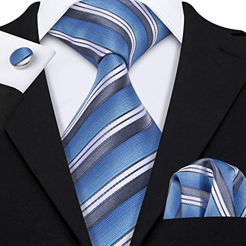 Barry.Wang Stripe Ties Necktie Set Pocket Square Cufflinks Woven Silk Blue