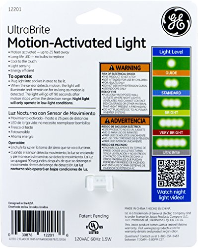 GE Ultra Brite Motion-Activated LED Light, 40 Lumens, Soft White, Night Light, Energy Efficient, Silver, 12201