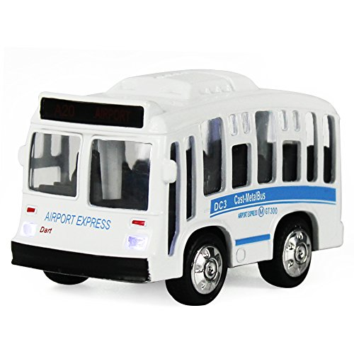 iPlay, iLearn Single Bus Pull Back Play Toy Vehicles, Model Car Kits, Old Car Models, Classic Diecast Model Cars, Moving Vehicle Toys, School Bus Die Cast Bus with Lights and Sounds (White)