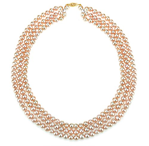 (14K Yellow Gold 6.5-7mm Freshwater Cultured Pearl 3-rows Necklace 18