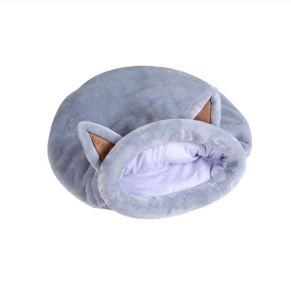 Wuwenw Saco De Dormir para Gatos, Otoño, Invierno, Nido De Gato, Cálido Medio Cerrado para Pet Dog Cat Puppy Bed, Gris