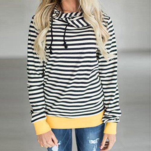 Blanco mujer manga sudadera de S XXXL OverDose blusas capucha larga rayas con HF6dn1wqP