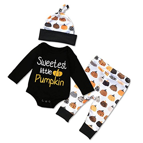 Mixed Girl Halloween Costumes (Newborn First Halloween Outfit Baby Boy Girl Costumes Sweetest Little Pumpkin Romper Pants Infant Onesies Clothes with Hat -3Pcs (70, Mixed Pumpkin))