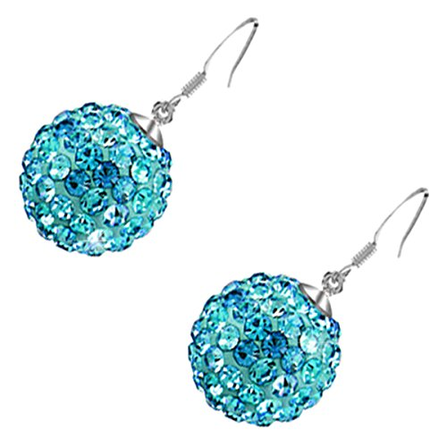 Price comparison product image GWG Sterling Silver Plated Adorned with Sparkling Turquoise Ocean Blue Crystals Ball Drop Earrings for Women