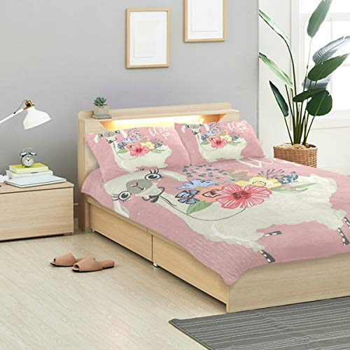 - CANCAKA Cute Duvet Cover Set Cute Baby Animal Llama Alpaca Flowers Design Bedding Decoration Twin Size 3 PC Sets 1 Duvets Covers with 2 Pillowcase Microfiber Bedding Set Bedroom Decor Accessories