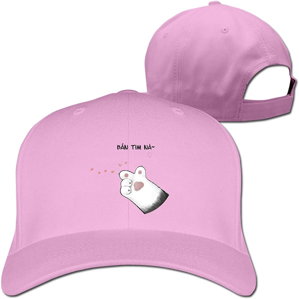 Cat Launches Love Fashion Adjustable Cotton Baseball Caps Trucker Driver Hat Outdoor Cap Pink