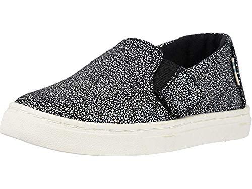 Tom's Girl's Luca Tiny Slip on Shoes (10 Toddler M, Black Iridescent Droplets)
