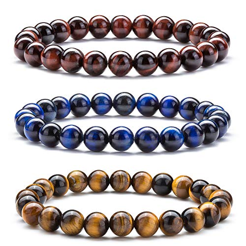 Hamoery Men Women 8mm Natural Stone Beads Bracelet Set Friend Gifts Elastic Yoga Agate Bracelet Bangle (Set 1)