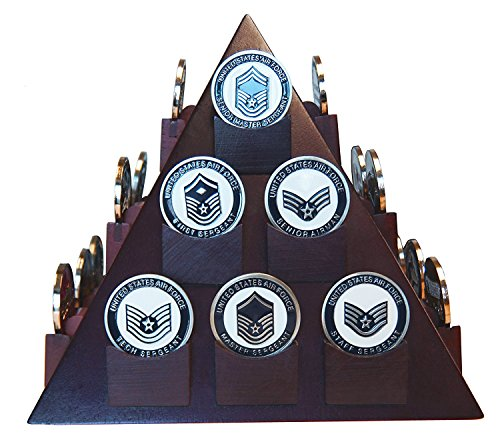 Pyramid Shaped Military Challenge Coin & Poker/Casino Chip Display Solid Wood - Cherry Finish