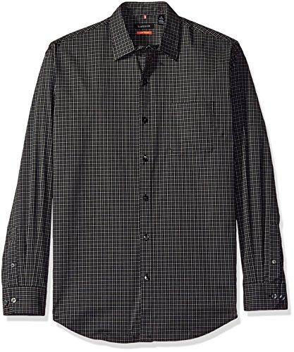 Van Heusen Men's Traveler Stretch Non Iron Long Sleeve Shirt, Black Check, - Ray Vans