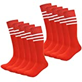 Kids Soccer Socks Wholesale 50 Pair Teenager Knee Long Compression Team Socks (Red)