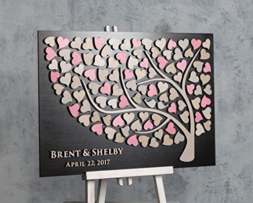 Libro degli invitati rosa e grigio per matrimonio, 3D, rustico, idea regalo per sposo e sposa, personalizzabile qidushop