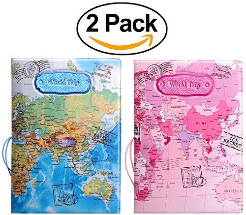 Passport Holder Cover Case RFID Blocking Travel Wallet Passport Cover Passport Wallet Cover passport Case Travel Gifts For Men & Women & kids (set of 2 Passport Holders Pink & Blue color) ()