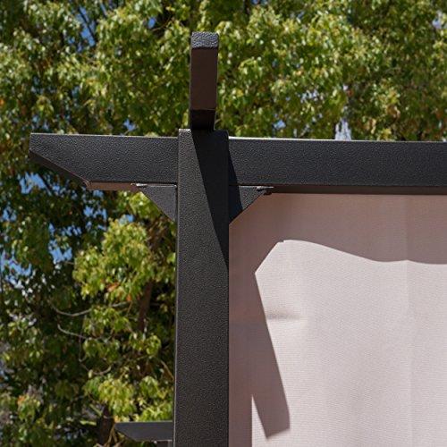Great Deal Furniture Dione Outdoor Steel Framed 10' by 10' Gazebo, Grey