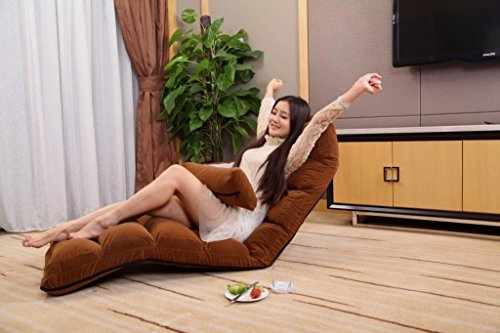 Porpora Relaxing Folding Futon Sofa and Comfortable Lounge Sofa, Coffee Brown