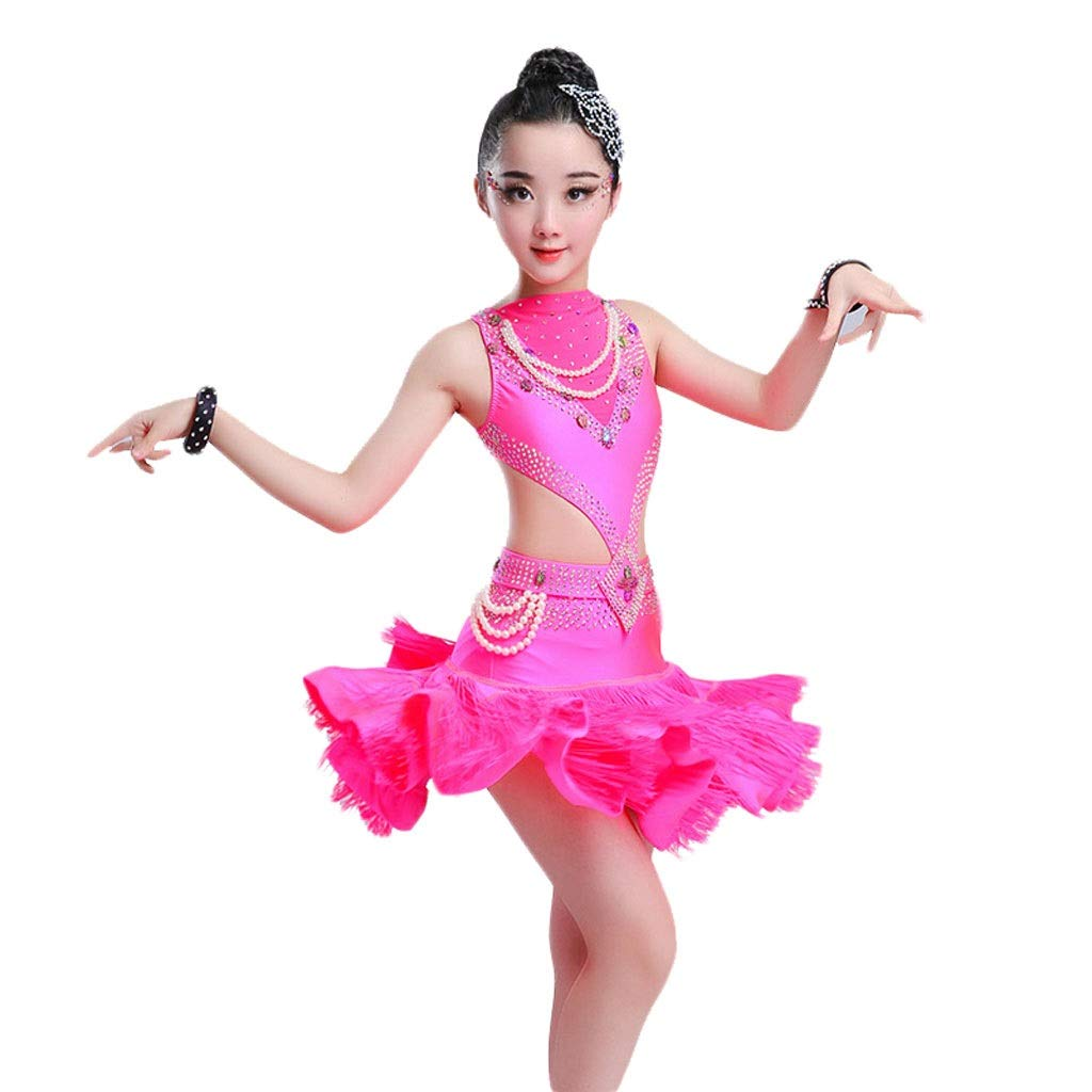 Rose rouge Medium JTSYUXN Filles Gland Danse Latine Rumba Salsa Robe Frange Perle Compétition VêteHommests , Enfant Latine Ballroom Ball Party Dance Professional Robe (Couleur   Rose rouge, Taille   L)