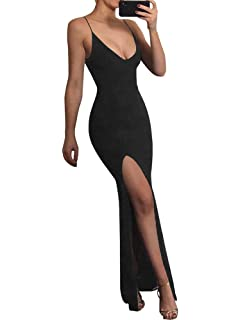 TOB Womens Sexy Bodycon Sleeveless Spaghetti Strap V-Neck Evening Long Dress