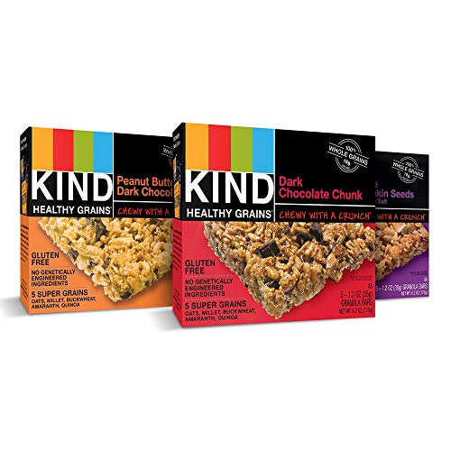 (KIND Healthy Grains Granola Bars, Variety Pack, Dark Chocolate Chunk, Peanut Butter Dark Chocolate, Maple Pumpkin Seeds with Sea Salt, Gluten Free, 1.2 oz, 15 Count)