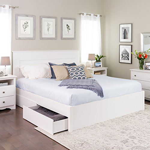 King Platform Bed 4 Drawers, White