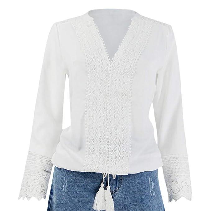 Amazon.com: Camisa de encaje de manga larga con cuello en V ...