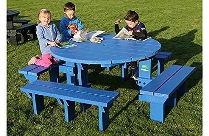 Junior olímpico banco de picnic Mesa resistente a la intemperie plástico reciclado, color azul