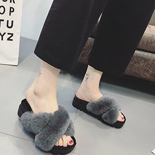 di Fankou una 39 pantofole sandali peluche flat parola moda autunno indossando coniglio e capelli trascina colofonia grigio la inverno spessa out donna OIfISqWrp