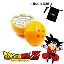 DBZ® Dragon Ball Z 3Pcs Weed Tobacco Spice Herb Grinder collectible Manga Art Aluminum 55mm 2.2 Inch 28 Lion Shape Teeth comes with a Bonus Silicone scraper and black velvet pouch