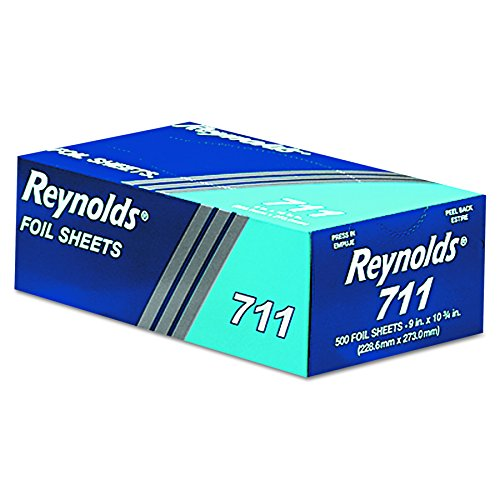 Reynolds Wrap 711 Pop-Up Interfolded Aluminum Foil Sheets, 9 x 10 3/4, Silver, 6 packs of 500 (Case of 3000 Sheets)