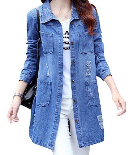 Howme-Women Relaxed-Fit Ripped Hole Long Sleeve Trucker Jacket As Picture