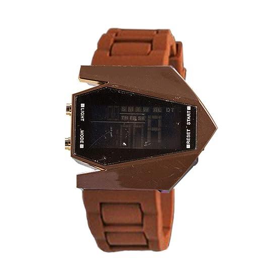 Rocita Correa de Silicona Multifuncional Moda Unisex Estilo Aviones Reloj Blando LED Luminoso Reloj de Pulsera