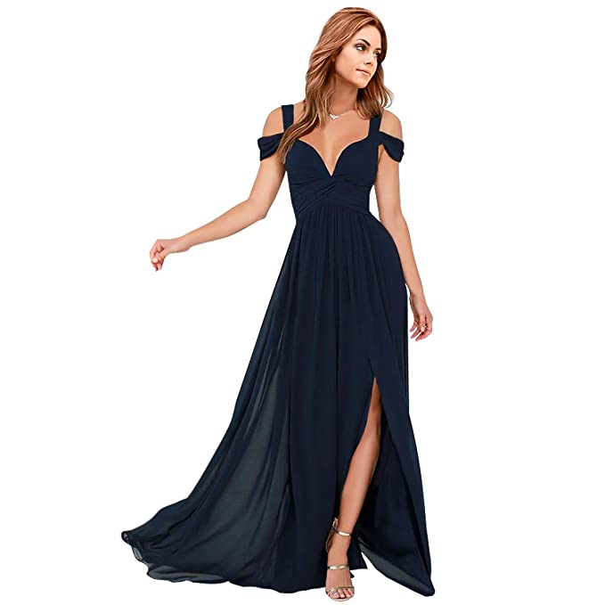 1e9e2503f2cc4 Bridesmaid Dresses Long Chiffon Formal Women's Maxi Dress Prom Gown Split  Two Layer Evening Party Dresses