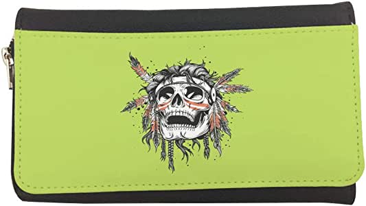 A red Indian skull Printed Leather Case Wallet