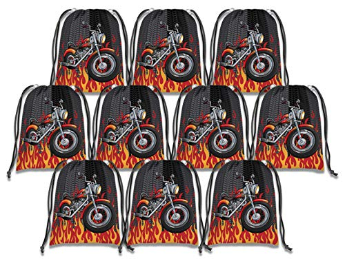 (Motorcycle Drawstring Bags Kids Birthday Party Supplies Favor Bags 10)