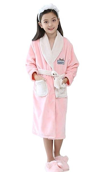 HAHABABY Albornoz Adecuada para Niñas Niños Pijamas Sudaderas Algodón 100% Manga Larga Albornoz De Baño Toalla Playa Disponible en Varias Tallas Batas: ...