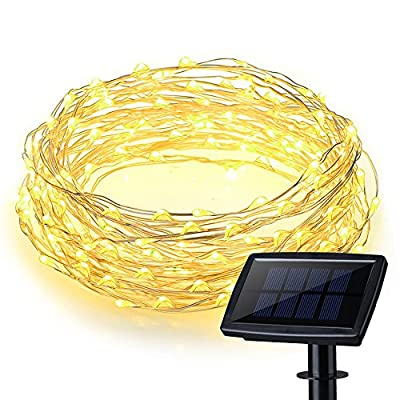 200 LEDs Waterproof Solar Powered Starry String Copper Wire Fairy Lighting Party Lights with Large Solar Panel for Indoor/Outdoor Decorations.