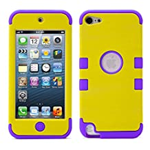 iPod Touch 5 Case, iPod Touch 6 Case, MagicMobile® [Armor Shell Series] Double Layer Cover [Hard PC] + [Silicone] Hybrid Case for Apple iPod 5th Gen [Impact Shock Resistant] / [Yellow - Purple ]