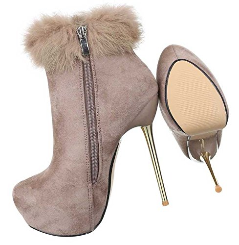 Schwarz Plateau Boots Beige Schuhe Heels High Stiefeletten Damen AgYZaPY